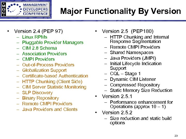 Major Functionality By Version • Version 2. 4 (PEP 97) – – – –