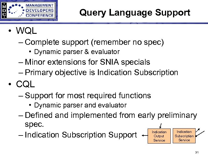 Query Language Support • WQL – Complete support (remember no spec) • Dynamic parser
