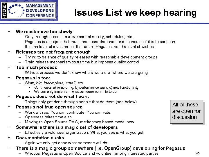 Issues List we keep hearing • We react/move too slowly – Only through process