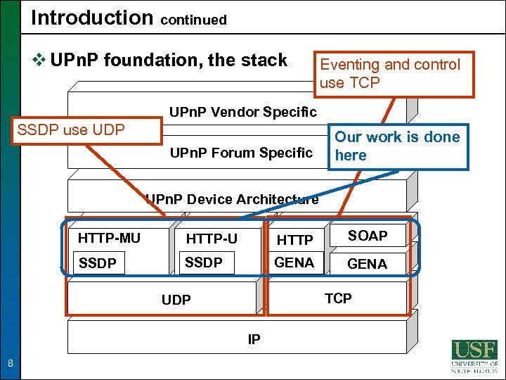 Introduction continued v UPn. P foundation, the stack Eventing and control use TCP UPn.