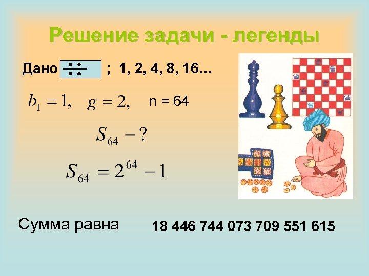 Решение задачи - легенды Дано ; 1, 2, 4, 8, 16… n = 64