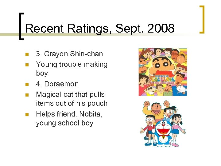 Recent Ratings, Sept. 2008 n n n 3. Crayon Shin-chan Young trouble making boy