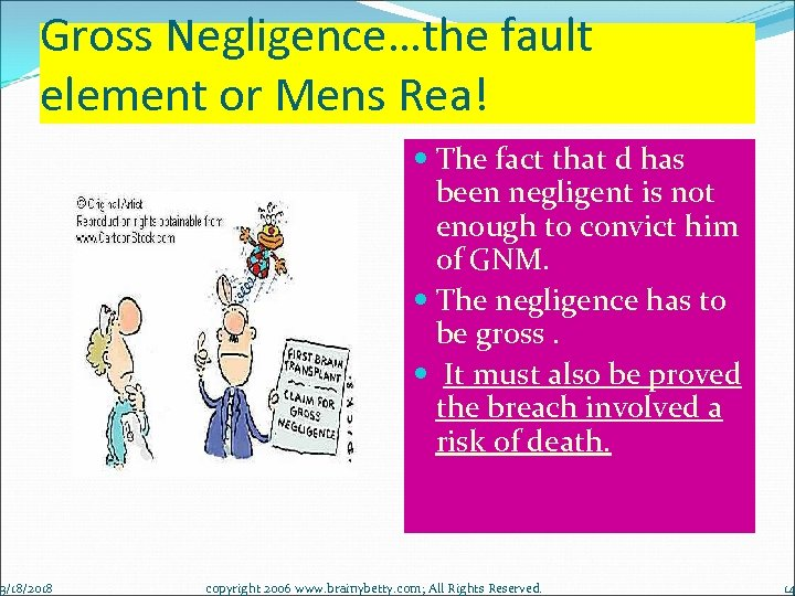 Gross Negligence…the fault element or Mens Rea! 3/18/2018 The fact that d has been
