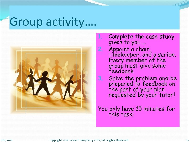 Group activity…. 3/18/2018 1. 2. 3. Complete the case study given to you…. Appoint