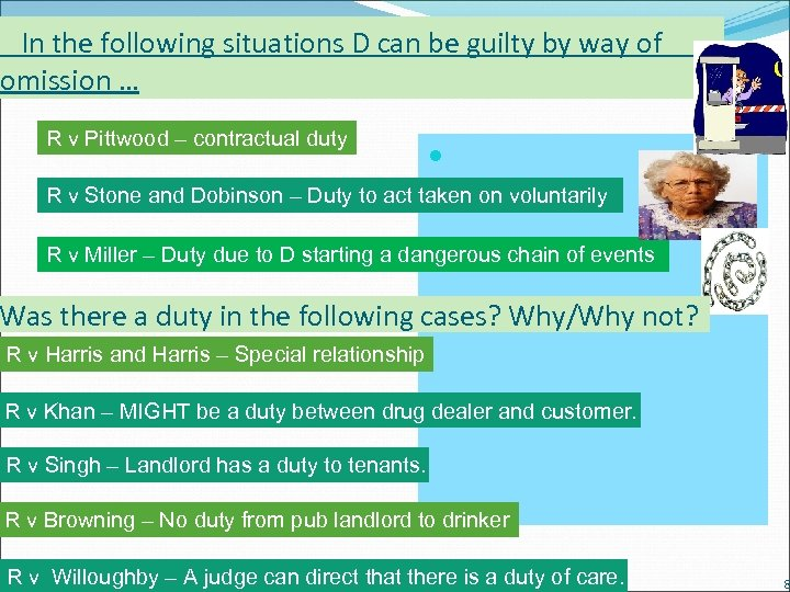 In the following situations D can be guilty by way of omission … R