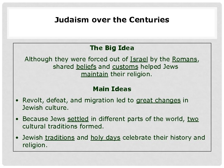 Judaism over the Centuries The Big Idea Although they were forced out of Israel