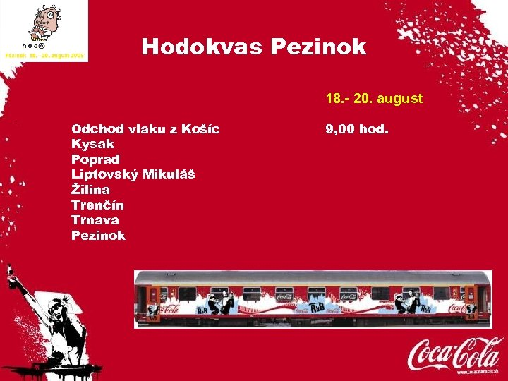 Hodokvas Pezinok 18. - 20. august Odchod vlaku z Košíc Kysak Poprad Liptovský Mikuláš
