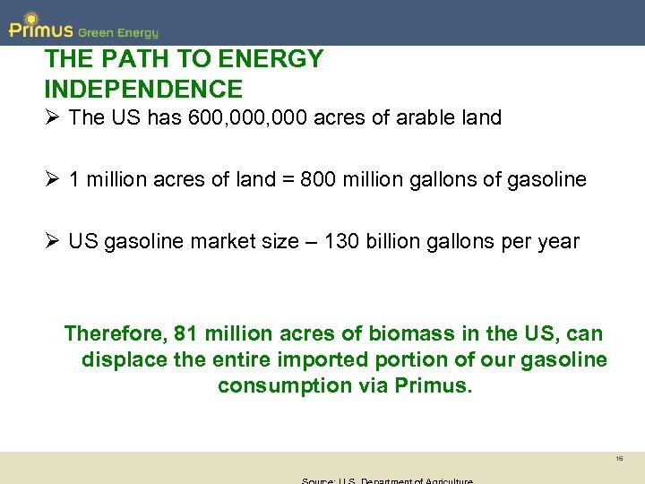 THE PATH TO ENERGY INDEPENDENCE Ø The US has 600, 000 acres of arable