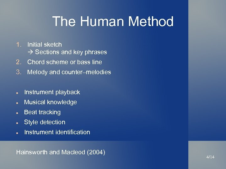 The Human Method 1. Initial sketch Sections and key phrases 2. Chord scheme or