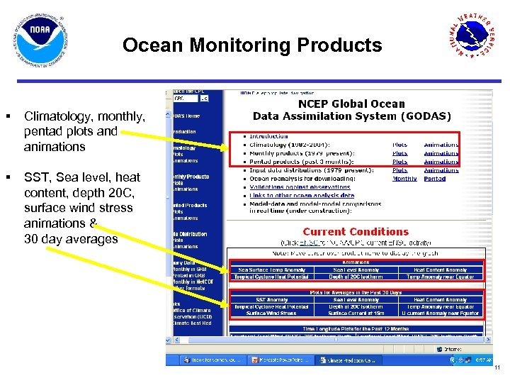 Ocean Monitoring Products § Climatology, monthly, pentad plots and animations § SST, Sea level,