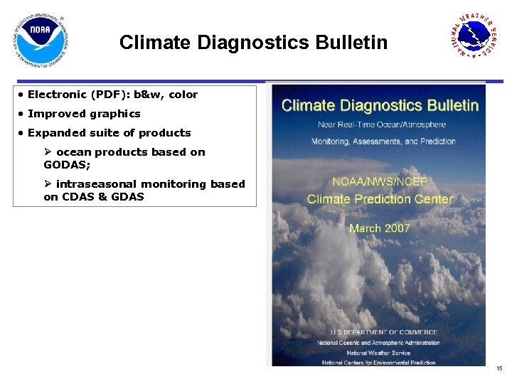 Climate Diagnostics Bulletin • Electronic (PDF): b&w, color • Improved graphics • Expanded suite