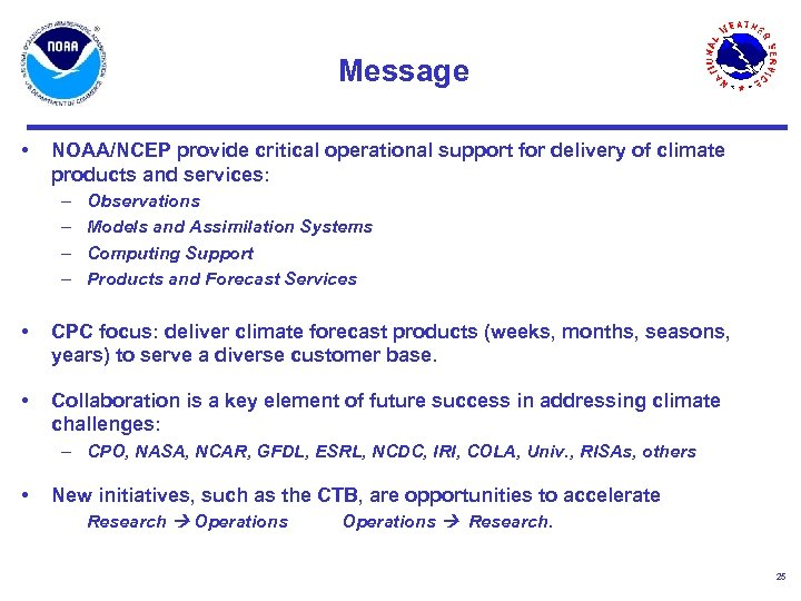 Message • NOAA/NCEP provide critical operational support for delivery of climate products and services: