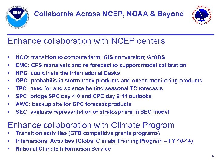 Collaborate Across NCEP, NOAA & Beyond Enhance collaboration with NCEP centers • • NCO: