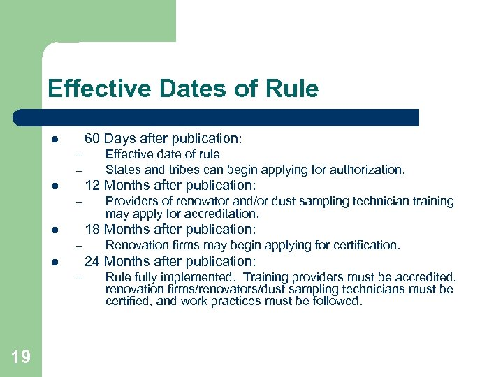 Effective Dates of Rule 60 Days after publication: l – – 12 Months after