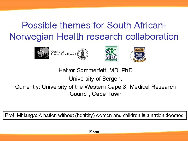 Possible themes for South African. Norwegian Health research collaboration Halvor Sommerfelt, MD, Ph. D