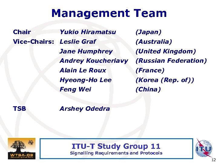 Management Team Chair Yukio Hiramatsu Vice-Chairs: Leslie Graf (Japan) (Australia) Jane Humphrey Andrey Koucheriavy