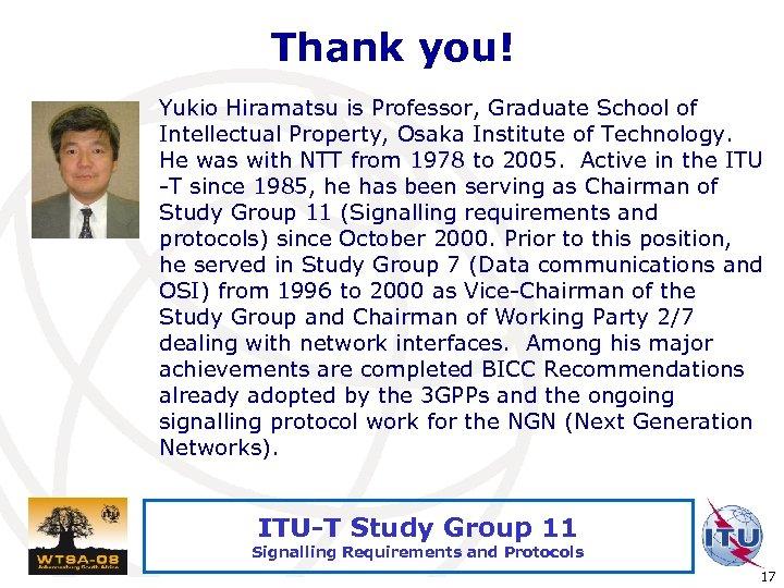 Thank you! Yukio Hiramatsu is Professor, Graduate School of Intellectual Property, Osaka Institute of