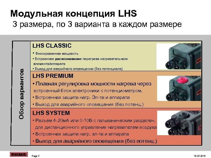 Moдульная концепция LHS 3 размера, по 3 варианта в каждом размере LHS CLASSIC Обзор