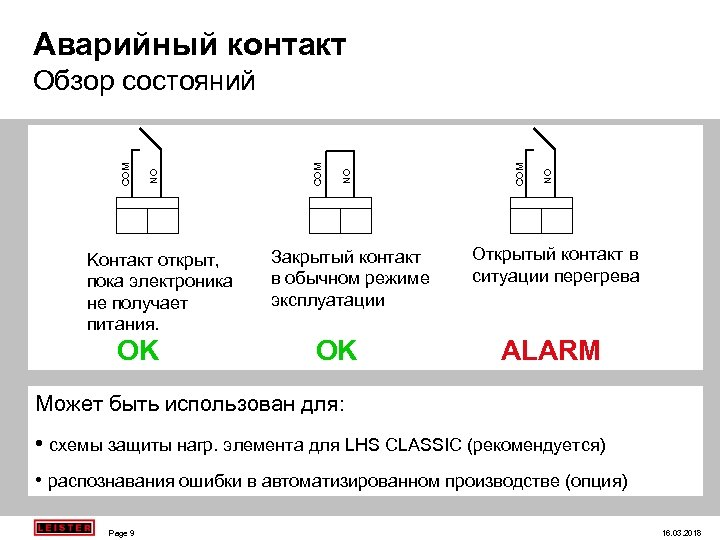 Aварийный контакт Koнтакт открыт, пока электроника не получает питания. OK Закрытый контакт в обычном