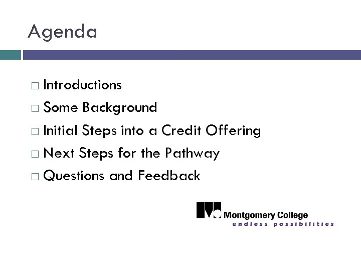 Agenda Introductions Some Background Initial Steps into a Credit Offering Next Steps for the