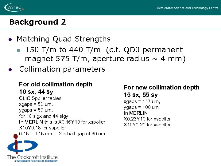 Background 2 l l Matching Quad Strengths l 150 T/m to 440 T/m (c.