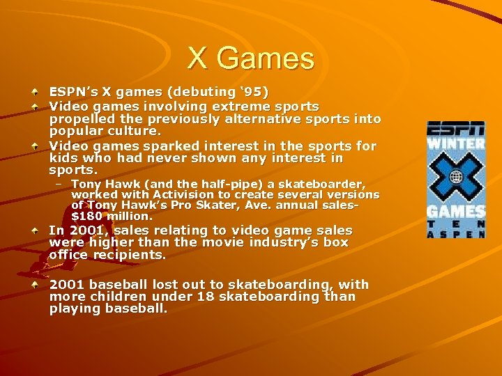 X Games ESPN's X games (debuting ' 95) Video games involving extreme sports propelled