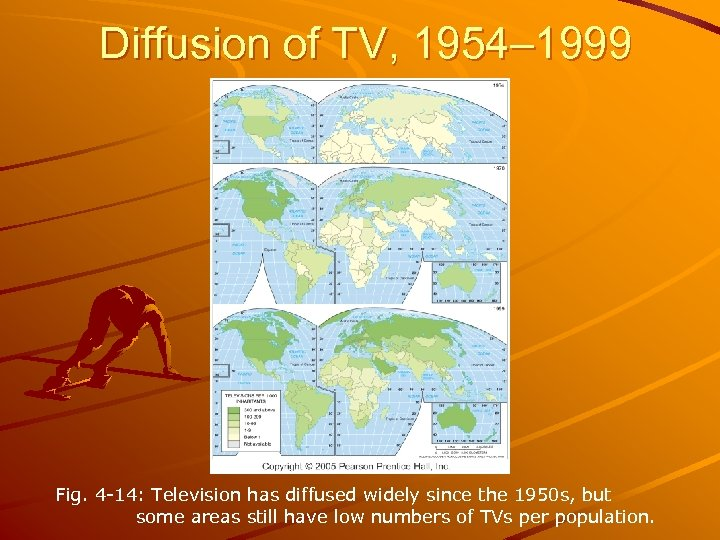 Diffusion of TV, 1954– 1999 Fig. 4 -14: Television has diffused widely since the