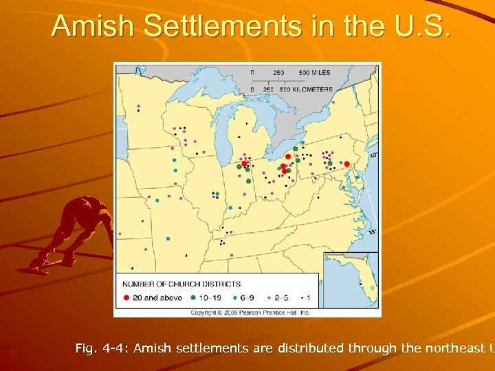 Amish Settlements in the U. S. Fig. 4 -4: Amish settlements are distributed through
