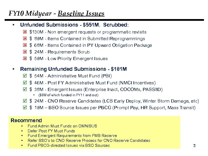 FY 10 Midyear - Baseline Issues • Unfunded Submissions - $551 M. Scrubbed: ý