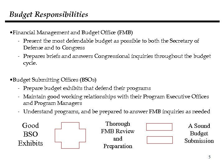 Budget Responsibilities • Financial Management and Budget Office (FMB) - Present the most defendable