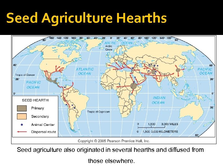 Seed Agriculture Hearths Seed agriculture also originated in several hearths and diffused from those