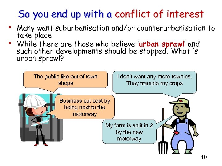 So you end up with a conflict of interest • Many want suburbanisation and/or