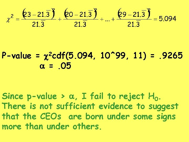 P-value = c 2 cdf(5. 094, 10^99, 11) =. 9265 a =. 05 Since