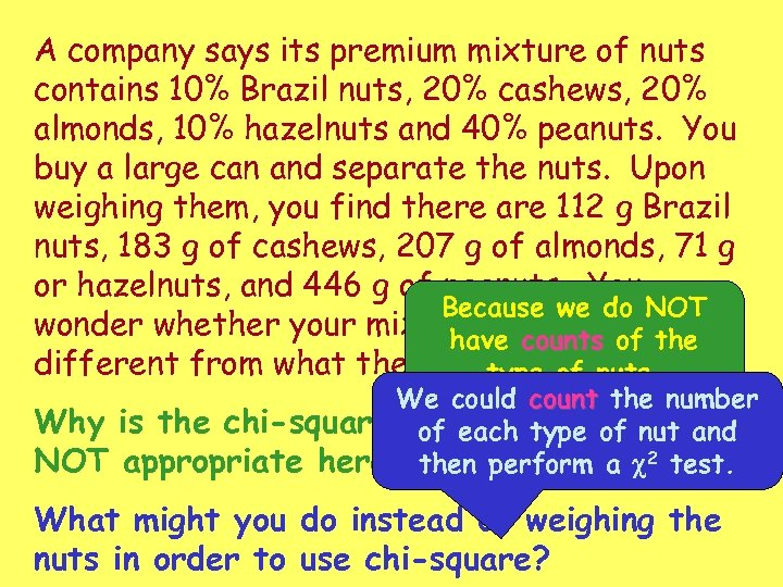 A company says its premium mixture of nuts contains 10% Brazil nuts, 20% cashews,