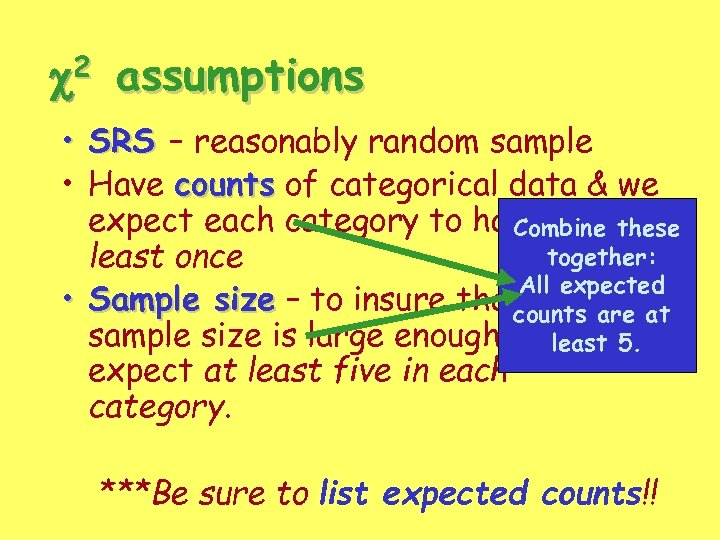 c 2 assumptions • SRS – reasonably random sample • Have counts of categorical