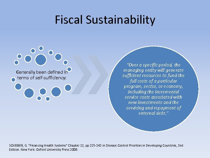"Fiscal Sustainability Generally been defined in terms of self-sufficiency: ""Over a specific period, the"