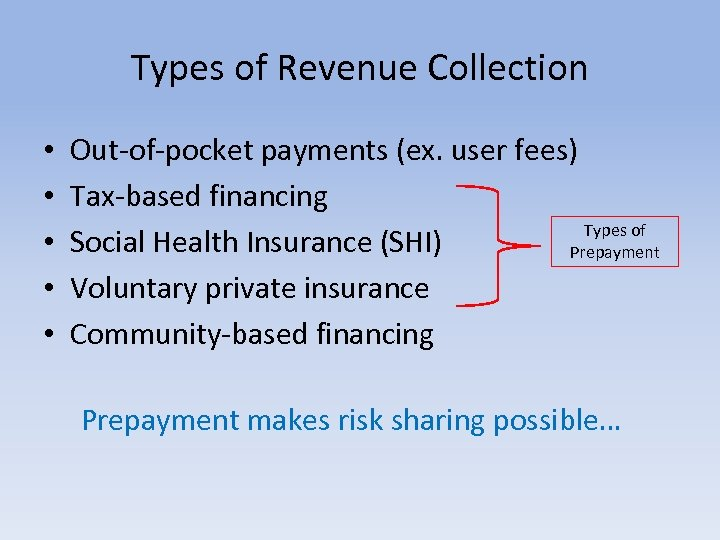 Types of Revenue Collection • • • Out-of-pocket payments (ex. user fees) Tax-based financing