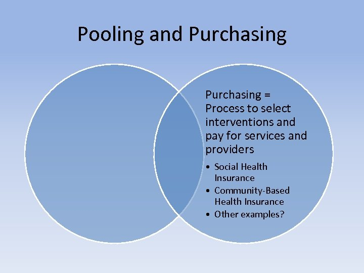 Pooling and Purchasing = Process to select interventions and pay for services and providers