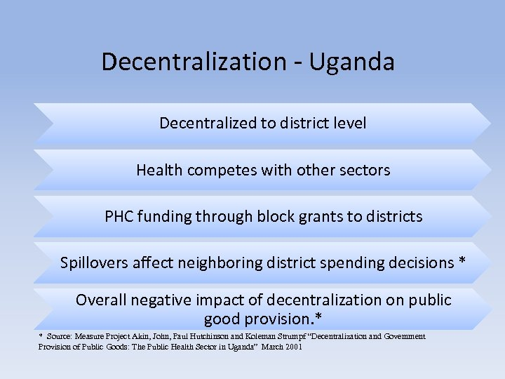 Decentralization - Uganda Decentralized to district level Health competes with other sectors PHC funding