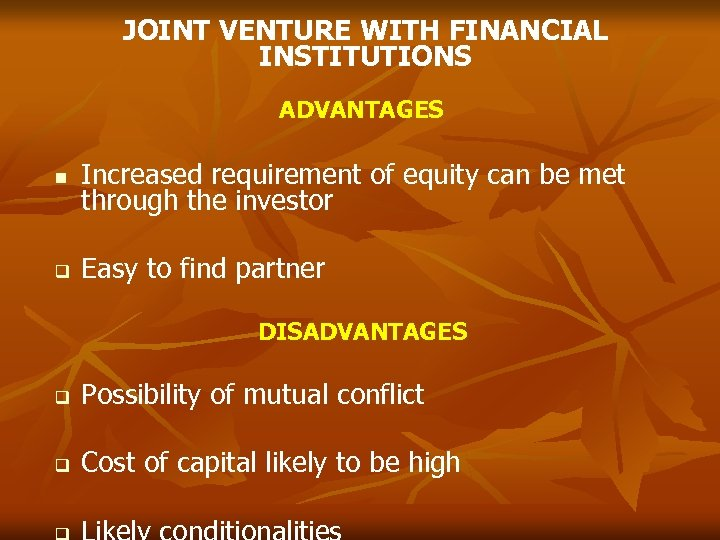 JOINT VENTURE WITH FINANCIAL INSTITUTIONS ADVANTAGES Increased requirement of equity can be met through