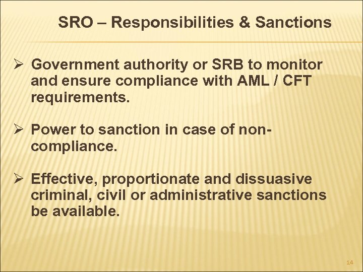 SRO – Responsibilities & Sanctions Ø Government authority or SRB to monitor and ensure