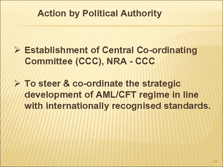 Action by Political Authority Ø Establishment of Central Co-ordinating Committee (CCC), NRA - CCC