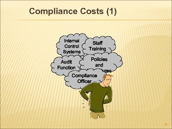 Compliance Costs (1) Internal Control Systems Staff Training Policies and Procedures Compliance Officer Audit