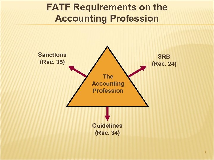 FATF Requirements on the Accounting Profession Sanctions (Rec. 35) SRB (Rec. 24) The Accounting