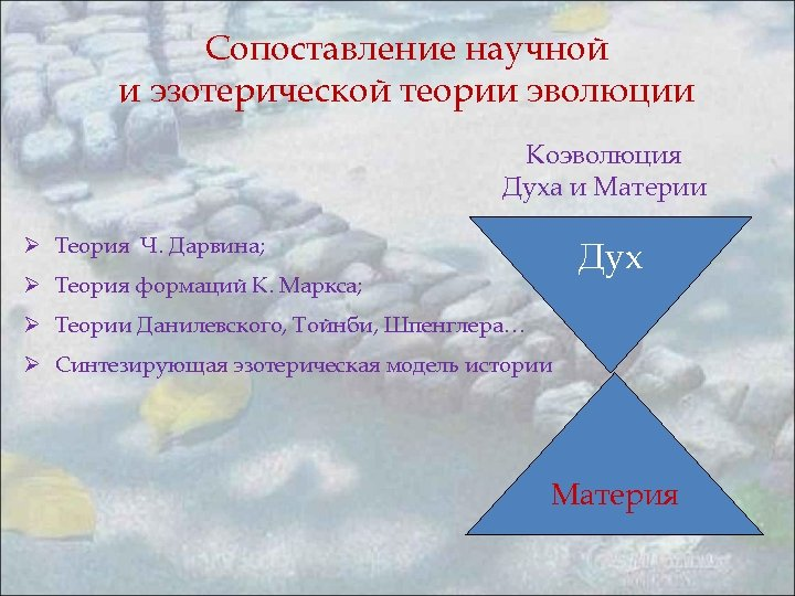 Сопоставление научной и эзотерической теории эволюции Коэволюция Духа и Материи Ø Теория Ч. Дарвина;