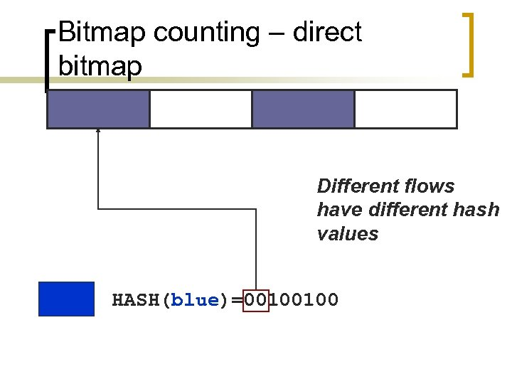Bitmap counting – direct bitmap Different flows have different hash values HASH(blue)=00100100