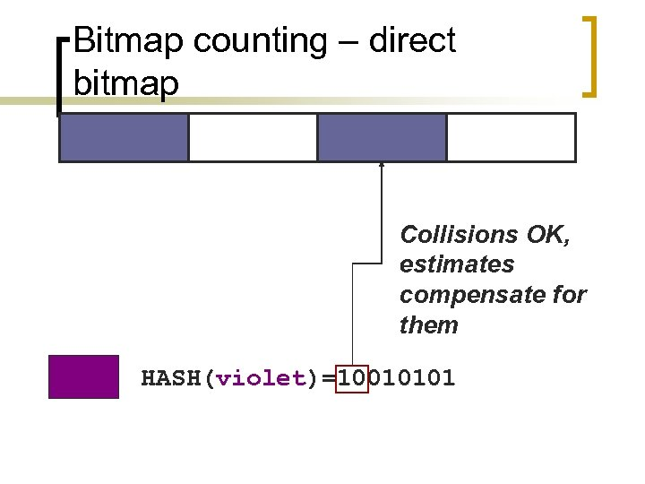 Bitmap counting – direct bitmap Collisions OK, estimates compensate for them HASH(violet)=10010101