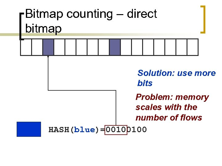 Bitmap counting – direct bitmap Solution: use more bits Problem: memory scales with the