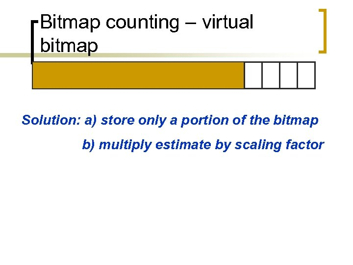 Bitmap counting – virtual bitmap Solution: a) store only a portion of the bitmap