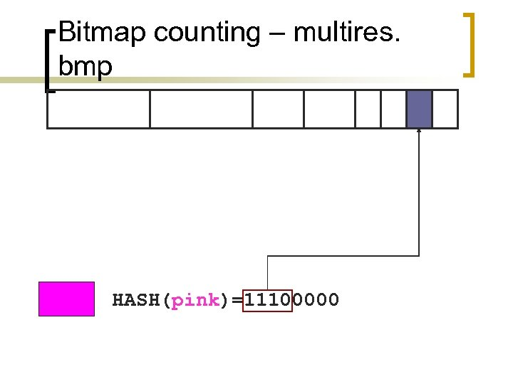 Bitmap counting – multires. bmp HASH(pink)=11100000